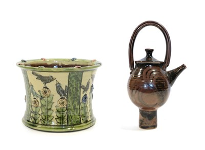Lot 2012 - Katherine Winfrey (1966-): An Earthenware Planter, decorated with birds and flowers, in...