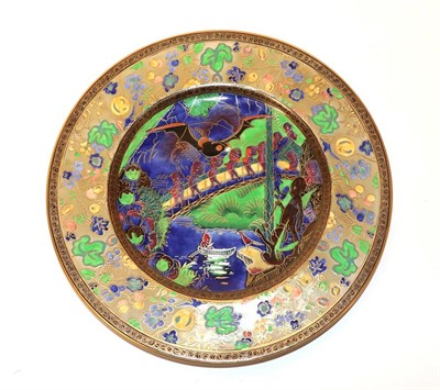 Lot 2013 - A Rare Wedgwood Fairyland Lustre Imps on a Bridge - The Roc Centre W1050 Lincoln Plate, designed by