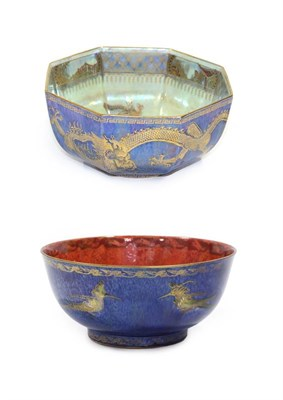 Lot 2016 - A Wedgwood Fairyland Ordinary Lustre Octagonal Bowl, designed by Daisy Makeig-Jones, decorated with