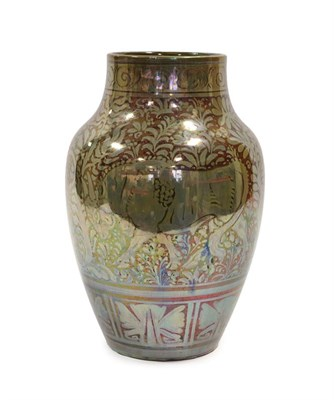 Lot 2019 - A Pilkington's Royal Lancastrian Lustre Vase, by Richard Joyce, with three water buffalo, in...
