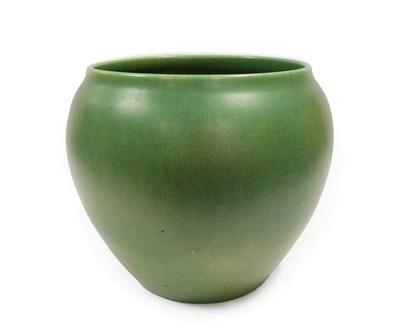 Lot 2022 - A Royal Lancastrian Jardinière, green mottled glaze, shape number 2376, impressed factory...