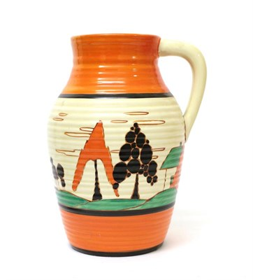 Lot 2023 - Clarice Cliff (1899-1972): A Fantasque Bizarre Trees and House (Alpine) Lotus Jug, painted with...