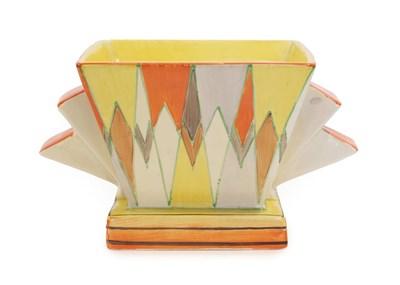 Lot 2025 - Clarice Cliff (1899-1972): A Bizarre 515 Posy Bowl, with original flower brick, black printed...