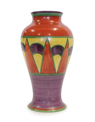 Lot 2029 - Clarice Cliff (1899-1972): An Original Bizarre Shape 14 Mei Ping Vase, green printed Wilkinson...
