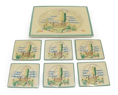 Lot 2030 - Clarice Cliff (1899-1972): A Biarritz Stile (Gate) and Tree Sandwich Set, circa 1941,...