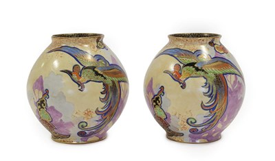 Lot 2034 - A Pair of Art Deco Carlton Ware Chinese Bird Pattern Ovoid Vases, enamelled in colours on a...