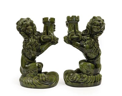 Lot 2035 - Attributed to Émile Gallé (French, 1846-1904) for Nancy Saint Clement: A Pair of Lion...