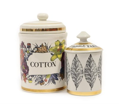 Lot 2040 - Piero Fornasetti (1913-1988): A Cotton Jar and Cover, circa 1960's, printed with flowers within...