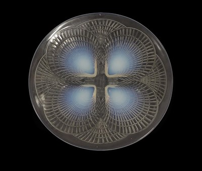 Lot 2046 - René Lalique (French, 1860-1945): An Opalescent and Clear Glass Coquilles Plate, wheel cut...