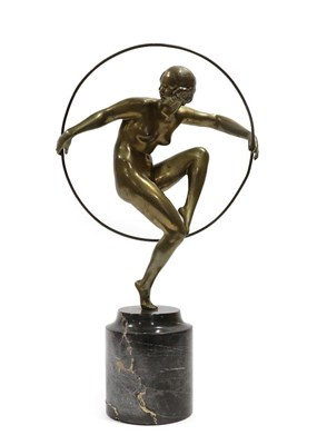 Lot 2052 - Marcel-André Bouraine (French, 1886-1948): Girl with Hoop, A Bronze Figure, circa 1925,...
