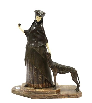 Lot 2054 - Andre Gilbert (French, 20th Century): Lady Venitian with Greyhound: A Patinated Bronze and...
