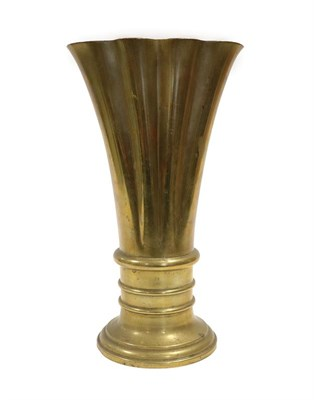 Lot 2058 - An Art Deco Bronze Vase, of oval scalloped form, on a reeded and stepped base, unmarked, 30cm