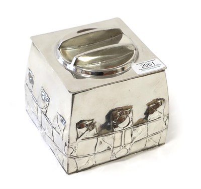 Lot 2061 - Archibald Knox (1864-1933) for Liberty & Co: A Tudric Pewter Biscuit Box and Cover, Model...