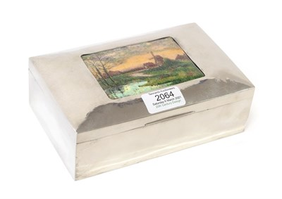 Lot 2064 - A Liberty & Co Pewter and Enamel Cigarette Box, Model No.01021, of rectangular form, cedar...