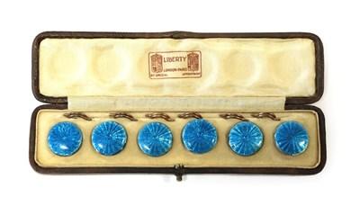 Lot 2070 - A Set of Six Liberty & Co, Blue Guilloché Enamel Dress Shirt Studs, each 2cm diameter with...