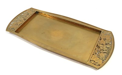 Lot 2076 - A Keswick School of Industrial Arts Brass Rectangular Tray, with pierced repousse ivy, stamped...