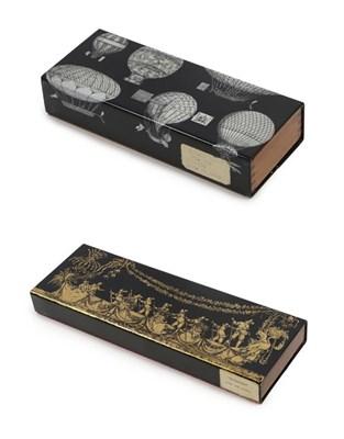 Lot 2082 - A Fornasetti Lacquered Aluminium and Mahogany Cigarette Box, balloon design, labelled...