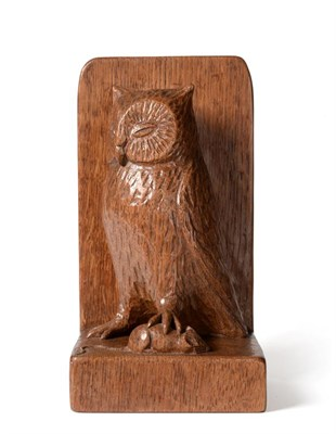 Lot 2086 - Robert Mouseman Thompson (1876-1955): An English Oak Table Brush Holder, carved as an owl holding a