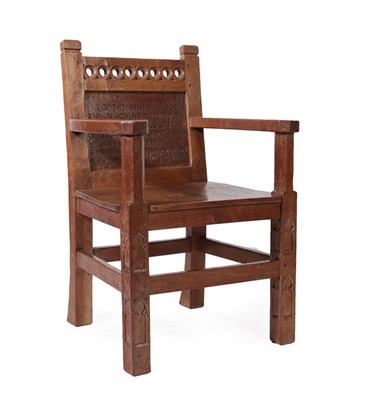 Lot 2089 - Robert Mouseman Thompson (1876-1955): An English Oak Arm Chair, with tracery top rail, above a...