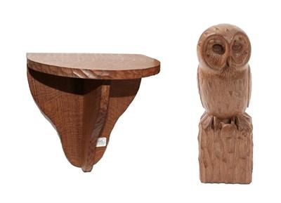 Lot 2095 - Workshop of Robert Mouseman Thompson (Kilburn): An English Oak Owl, carved as a standing owl...