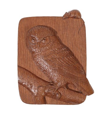 Lot 2096 - Workshop of Robert Mouseman Thompson (Kilburn): An English Oak Owl Plaque, with an owl perched on a