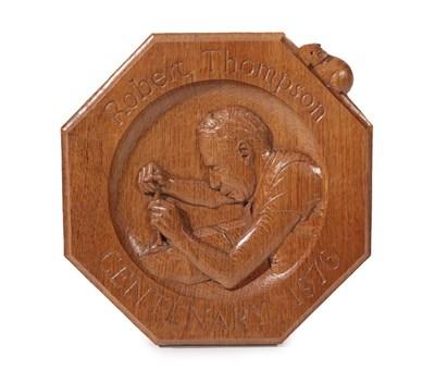 Lot 2097 - Workshop of Robert Mouseman Thompson (Kilburn): An English Oak 1976 Centenary Octagonal Easel...