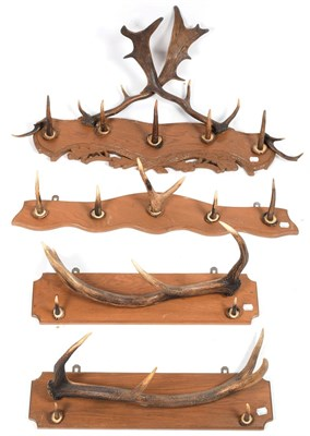 Lot 45 - Antler Furniture: A Collection of Antler Coat Racks, comprising - a Fallow Deer antler mounted coat
