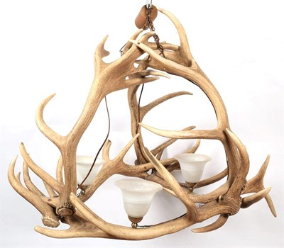 Lot 47 - Antler Furniture: A Red Deer Antler Mounted Chandelier, circa mid-late 20th century,...