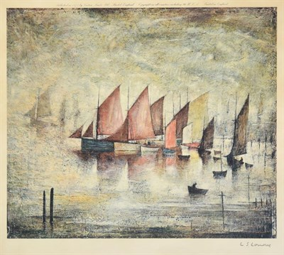 Lot 1000 - After Laurence Stephen Lowry RBA, RA (1887-1976) ''Sailing Boats'' Signed, with the Fine Art...
