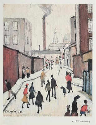 Lot 1001 - After Laurence Stephen Lowry RBA, RA (1887-1976)  ''Street Scene'' Signed, with the blindstamp...
