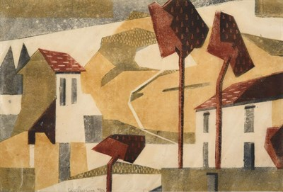Lot 1017 - Edith Lawrence (1890-1973)  Houses and trees Signed and numbered 4/50, linocut, 22cm by 32.5cm...