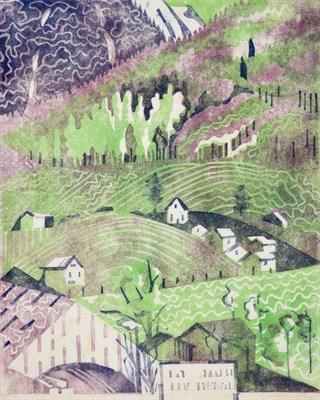Lot 1018 - Edith Lawrence (1890-1973) ''Houses on a Hillside'' Linocut, 31cm by 26cm, (unframed)...