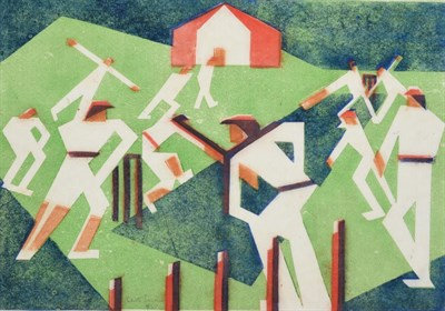 Lot 1021 - Edith Lawrence (1890-1973) ''Cricket'' Signed, inscribed and numbered 8/25, linocut, 30cm by...