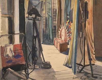 Lot 1027 - Dame Laura Knight RA, RWS, RE, RWA, PSWA, DBE (1877-1970) In the wings Signed, watercolour, 29cm by