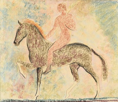 Lot 1028 - John Rattenbury Skeaping RA (1901-1980) Horse and rider  Pastel, 39cm by 33.5cm  Provenance: A gift
