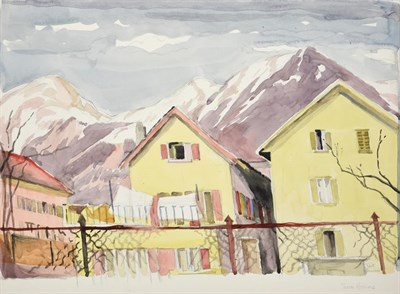 Lot 1032 - Edith Lawrence (1890-1973) Swiss mountain village Signed, indistinctly inscribed, watercolour,...