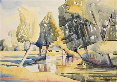 Lot 1033 - Edith Lawrence (1890-1973) Landscape with cattle  Signed, watercolour, together with four...
