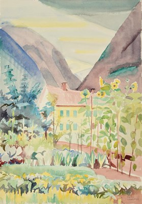 Lot 1034 - Edith Lawrence (1890-1973) ''Switzerland'' Signed, inscribed verso, watercolour, together with four