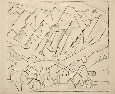 Lot 1035 - Edith Lawrence (1890-1973) Swiss town Pen, ink and pencil, together with two further mixed...
