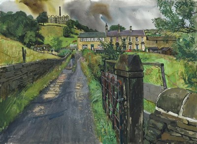 Lot 1037 - Trevor Stubley (1921-2010)  Figures before houses in a West Yorkshire landscape Signed, watercolour