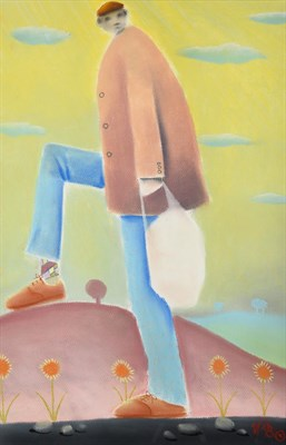 Lot 1044 - Mackenzie Thorpe (b.1956) Man with a shopping bag Initialled, pastel, 62cm by 40cm  Artist's Resale
