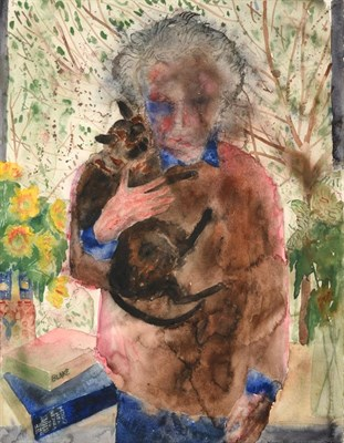 Lot 1045 - Norman Adams RA (1927-2005) ''Self Portrait holding Siegfried the Burmese Cat'' Initialled,...