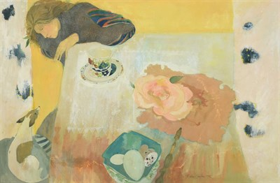 Lot 1046 - Brenda Lenaghan RSW (b.1941) Scottish ''Girl and Dog at Table'' Signed and dated 1982, gouache,...