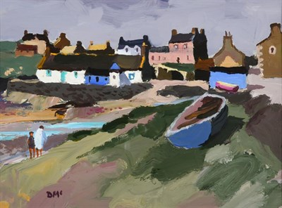 Lot 1050 - Donald McIntyre RCA (1923-2009) Scottish ''Morning, Isle of Whithorn'' Initialled, oil on...