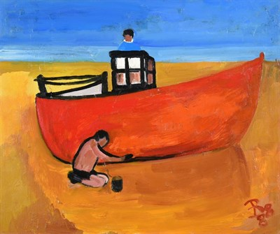 Lot 1052 - Eileen Bell (1907-2005) ''Working on Boat'' Monogrammed and dated (19)88, inscribed verso, oil...