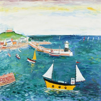 Lot 1054 - Simeon Stafford (b.1959) ''St Ives'' Signed, inscribed verso, oil on canvas, 80cm by 80cm  Artist's