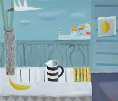Lot 1055 - Alan Furneaux (b.1953) Still life with lily and striped jug before a harbour Signed, oil on canvas