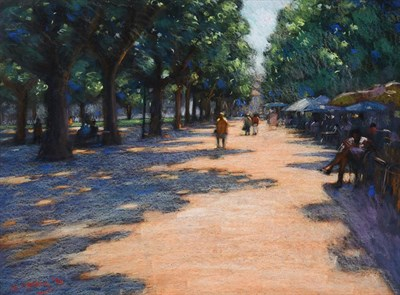 Lot 1062 - John Mackie (b.1955) ''Afternoon break, Montpellier'' Signed and dated (19)94, pastel, 58cm by 78cm