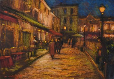 Lot 1063 - John Mackie (b.1955) ''Place du theatre, Midnight'' Signed and dated (19)94, pastel, 40cm by 57.5cm