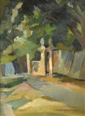 Lot 1064 - Winifred McKenzie (1905-2001) Scottish  View of a gateway under a canopy of trees Signed, oil...